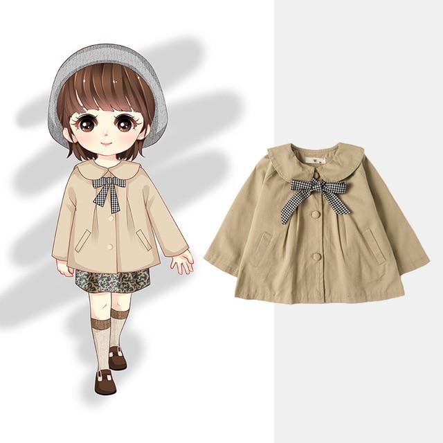 Girls   Trench   Coat Fashion Khaki Spring Autumn Windbreaker for Girl Kids Clothing 1 2 3 4 Y Toddler Girls Outwear Korean Jacket