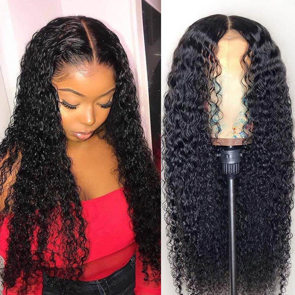 Curly Closure Wig 4*4 Brazilian Lace Closure Human Hair Wigs With Baby Hair Kinky Curly Lace Wigs Pre Plucked Bleached Knots