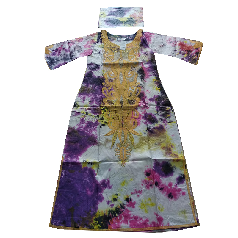 MD Embroidery African Dresses For Women Bazin Riche Cotton Long Sleeve Dress Dashiki Women Robe Kaftan Lady Long Dresses Clothes