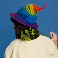 Cute Handmade Rainbow Wool Caps Christmas Gift Birthday Gift For Women Vintage Magic Hats Fashion Autumn Winter Warm Party Cap