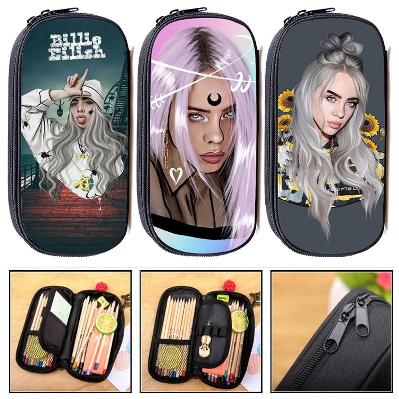 Fashion Singer Rapper Billie Eilish Print Cosmetic Cases Pencil Bag Teenager Girls Mini Pencil Pouch Kids School Supplies