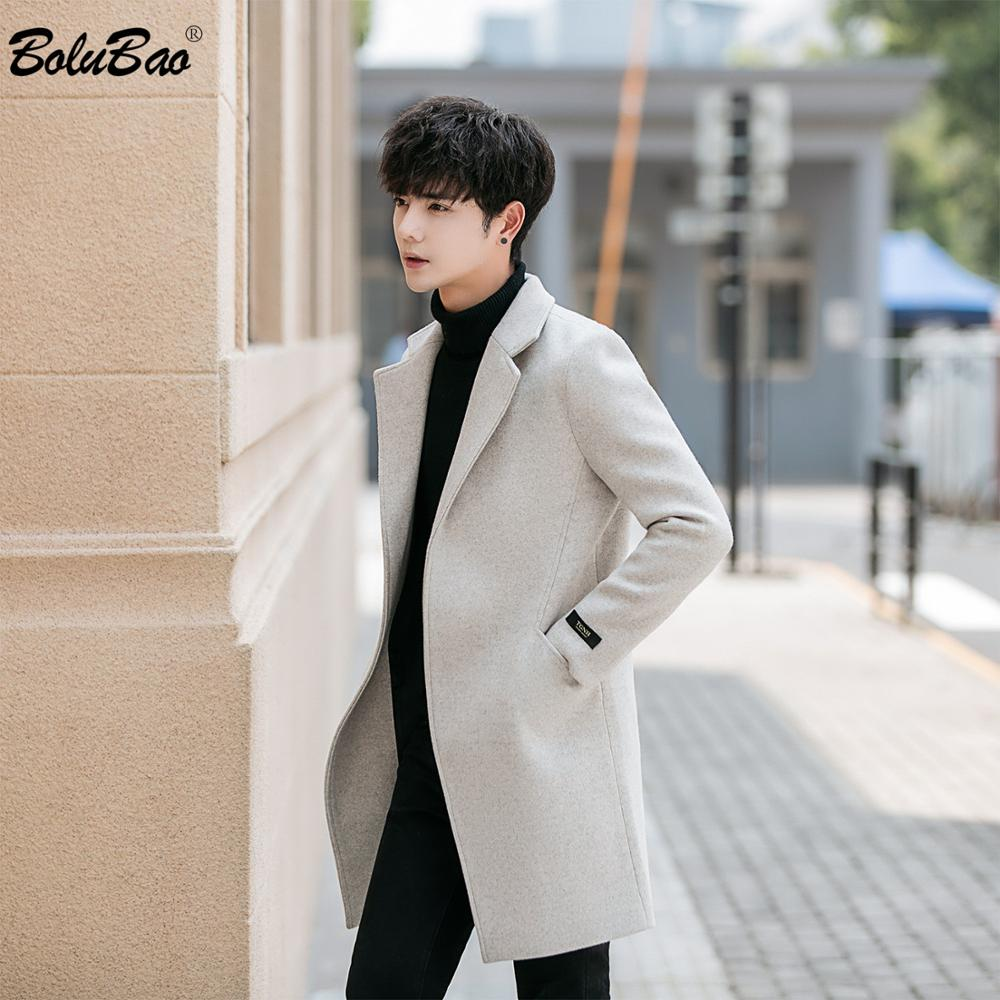 BOLUBAO Brand Men Wool Blend Coats Autumn Winter New Men's Solid Color Mid-Length Wool Blend Coat Fashion Casual Wool Coat Male