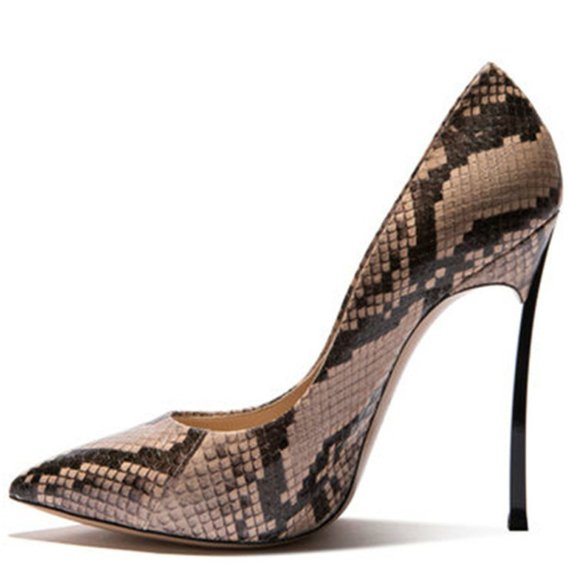 YECHNE Woman Snake Skin Pumps Size 33 43 Fetish High Hooks Valentines Shoes Beige Brown Punch Shoes Sexy Bruising Shoes