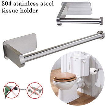 Wall Mount Toilet Paper Holder Tissue Stainless Steel Bathroom Kitchen Roll Paper Rack Towel Accessories Rack Holders kitchen roll paper self adhesive wall mount toilet paper holder stainless steel bathroom tissue towel accessories rack holders