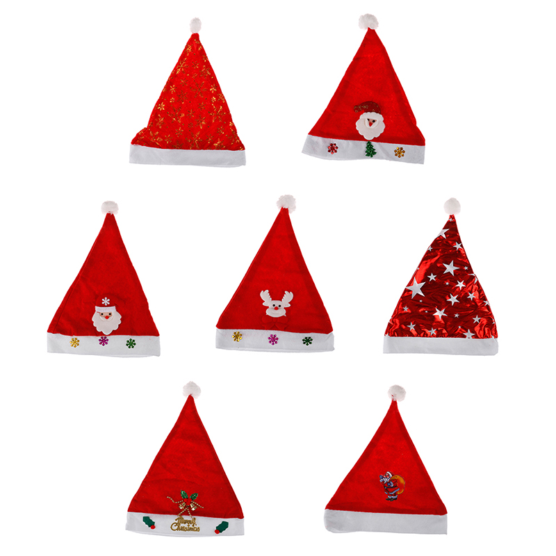New 1PC Christmas Ornaments Decoration Christmas Hats Santa Hats Children Boys Girls Cap For Christmas Party Props Toy