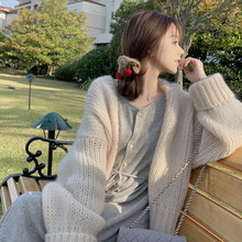 Oversize Sweater Women Cardigans Coats Knitted Beige Pink Casual Fashion Khaki Solid