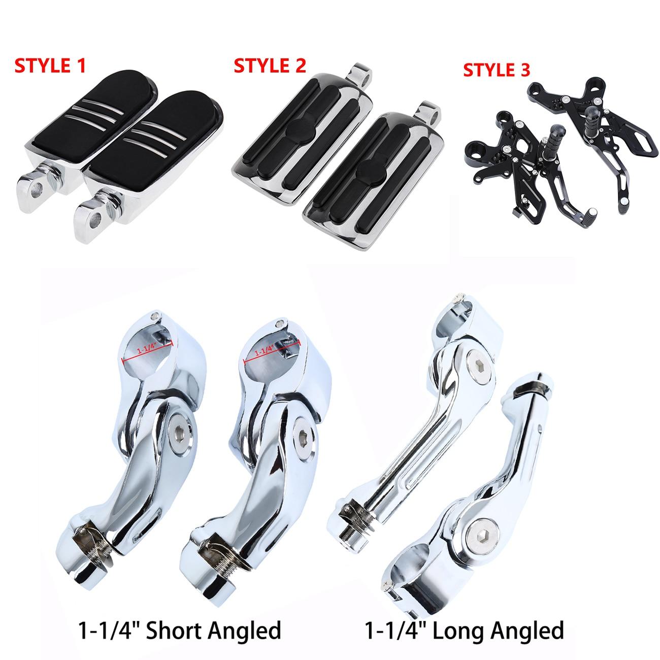 """1 1//4/"""" 32mm Chrome Short Angled Adjustable Highway Foot Peg Mount Kit For Harley"""