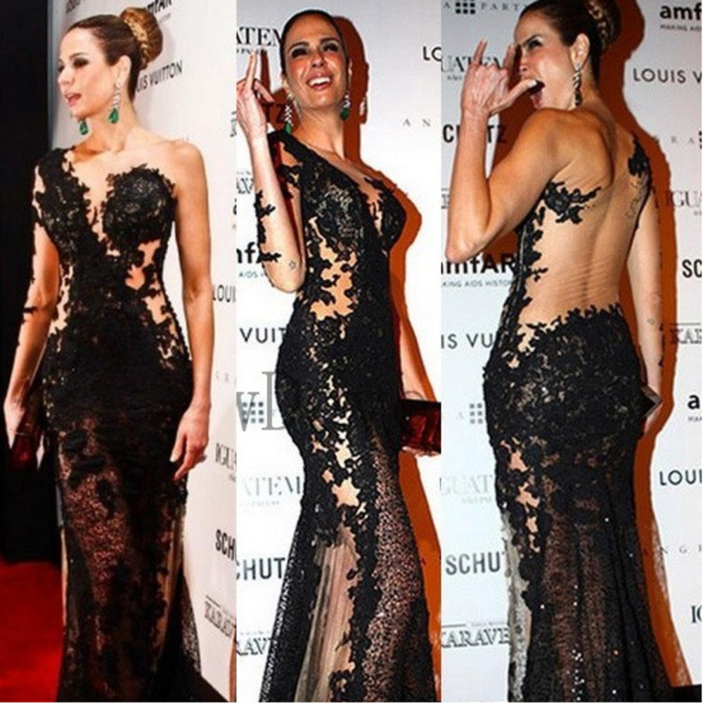 Sexy Black See Through Tulle Nude Long Sleeve Celebrity Dresses One Shoulder Backless Sequin Long Evening Gowns Prom Wear