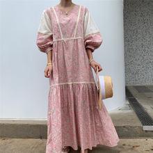 Женское винтажное платье макси прямое в Корейском стиле с цветочным