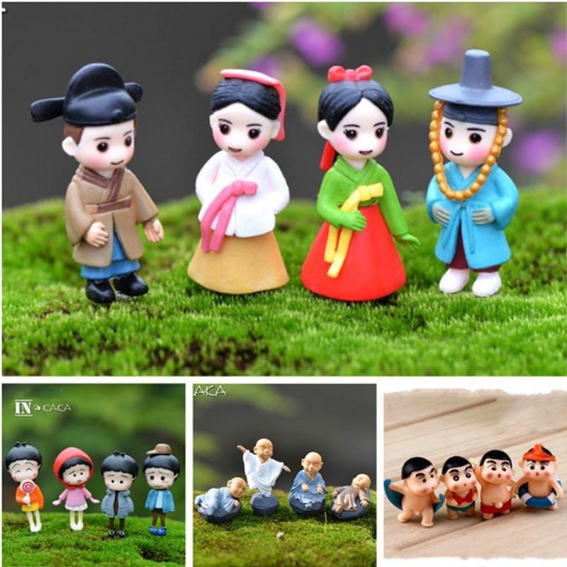 4-pacote mini bonecas pessoas modelo figuras micro paisagem jardim de fadas gnomos dollhouse estatueta ornamentos decoração em miniatura diy