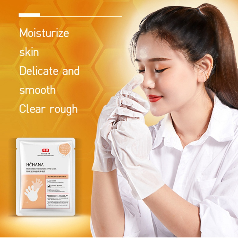 Natural Honey Milk Hand Mask Lasting Moisturizing Smooth Fine Lines Brighten Skin Color Whitening Exfoliating Hand Mask