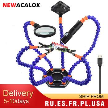 NEWACALOX Multi lutowanie pomocna ręka trzecia ręka narzędzie 3X powiększające USB wentylator DC latarka lupa PCB naprawa spawalnicza stacja tanie i dobre opinie CN (pochodzenie) HANTAI6 215 * 215 * 58mm (packing) good 110 220V 100-450 Blue white Soldering iron holder PCB Board Repair RC Helicopter Repair UAV Repair Quadcopter Repair