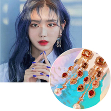 MENGJIQIAO Fashion Waterdrop Colorful Square Crystal Long Drop Earrings For Women Luxury Party Temperament Pendientes Jewelry
