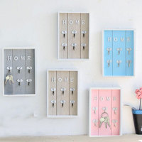 High Quality Cute Wall Mount Key Holder Wooden Wall Hook Hanger Organizer with 6 Hook for Home Kitchen Bathroom Decor Drop Ship|Hooks & Rails| |  -