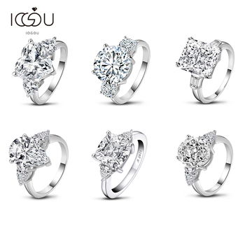 IOGOU 5 Carat Cushion/Heart/Round Cut Engagement Rings for Women 925 Sterling Silver 3-Stone Oval/Pear/Radiant Cut Wedding Ring colorfish new unique design three stone wedding ring round cut sona 925 sterling silver for women engagement ring lovers promise