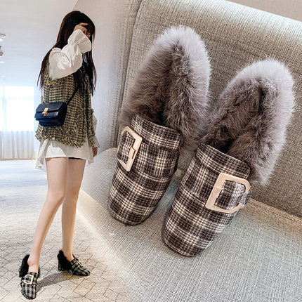 Hairy single shoes female 2019 new wild thick with the British wind a pedal small shoes 35