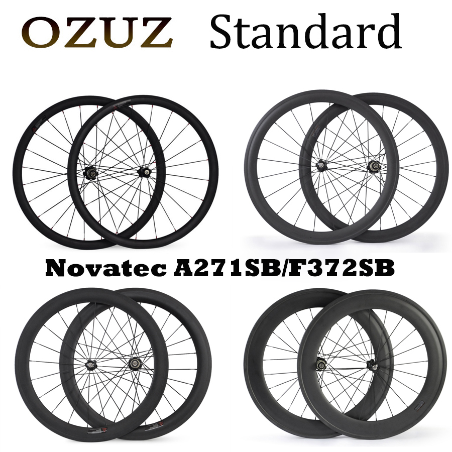 OZUZ 24/38/50mm Road Bike Carbon Fiber Wheels Clincher 23mm Wide Cycling Bicycle Wheel 494 Cnspoke Novotec 271 372 Wheelset 700c
