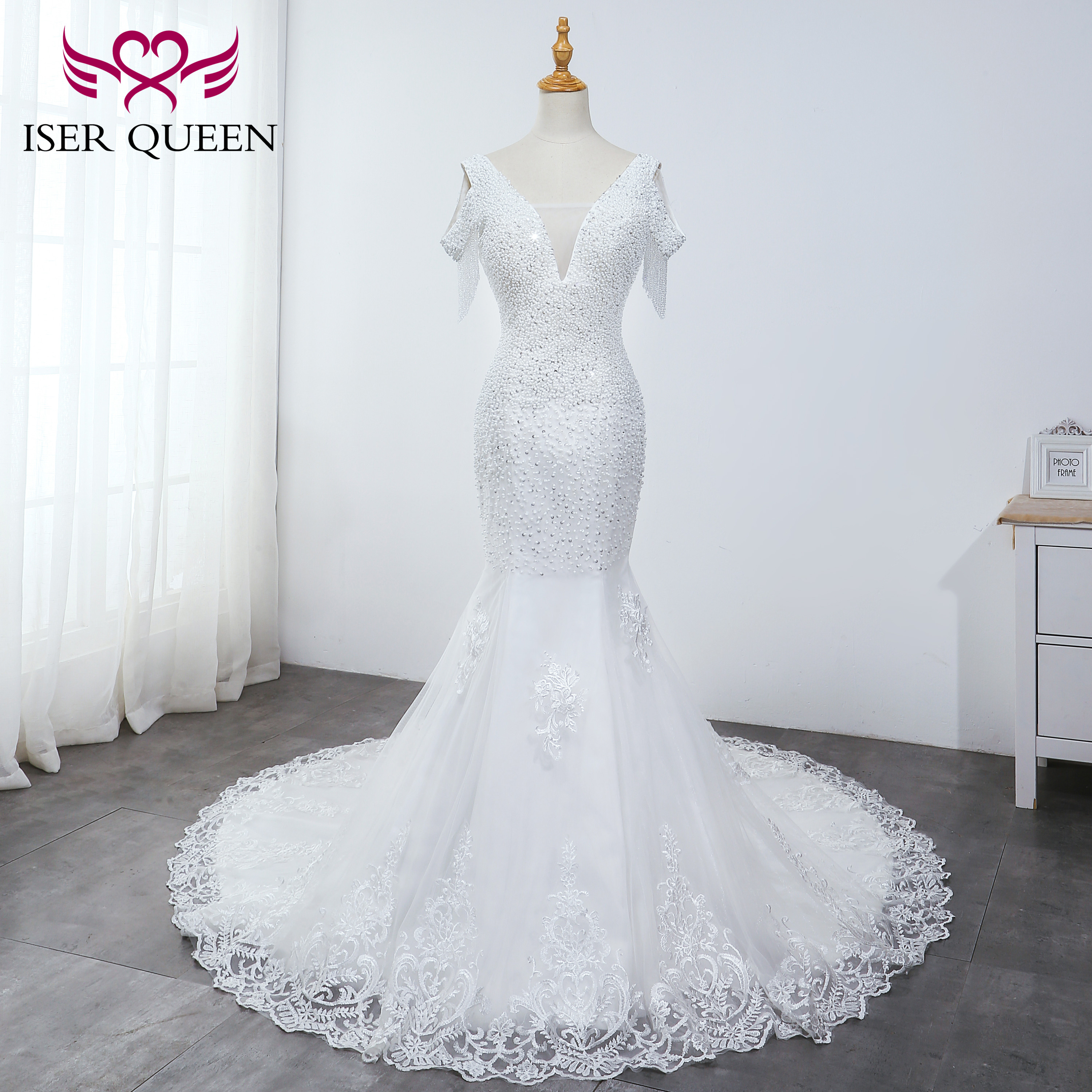 Pearls Sequined Beading Deep V-neck Cap Sleeves Mermaid Wedding Dresses Elegant Pure White Embroidered Lace On Net WX0037