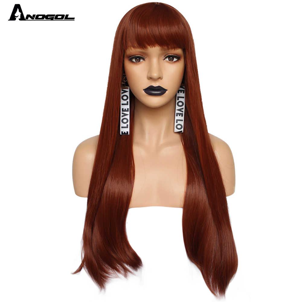 """Anogol długa prosta 26 """"bordowy różowy szary czarny kasztanowy naturalny blond biała peruka syntetyczna dla kobiet z płaskim grzywką Fringe"""