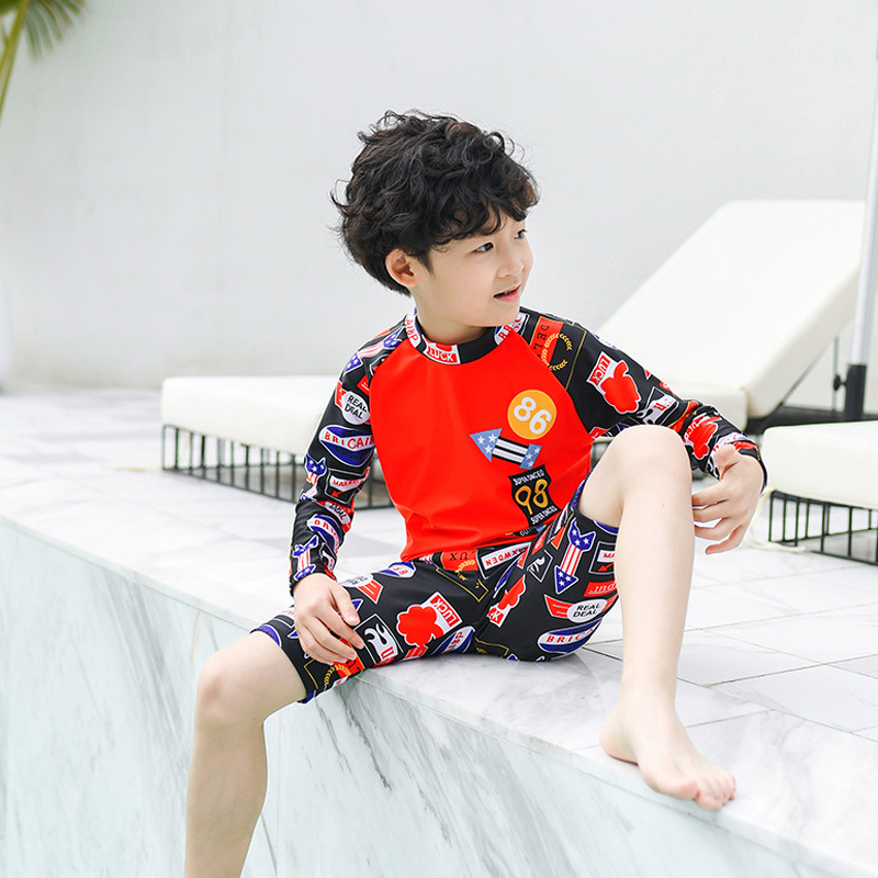 2019 New Style Hot Sales CHILDREN'S Swimwear Split Two-Piece Set Cartoon Small Stand Collar Boxer Ultra-stretch Quick-Dry BOY'S