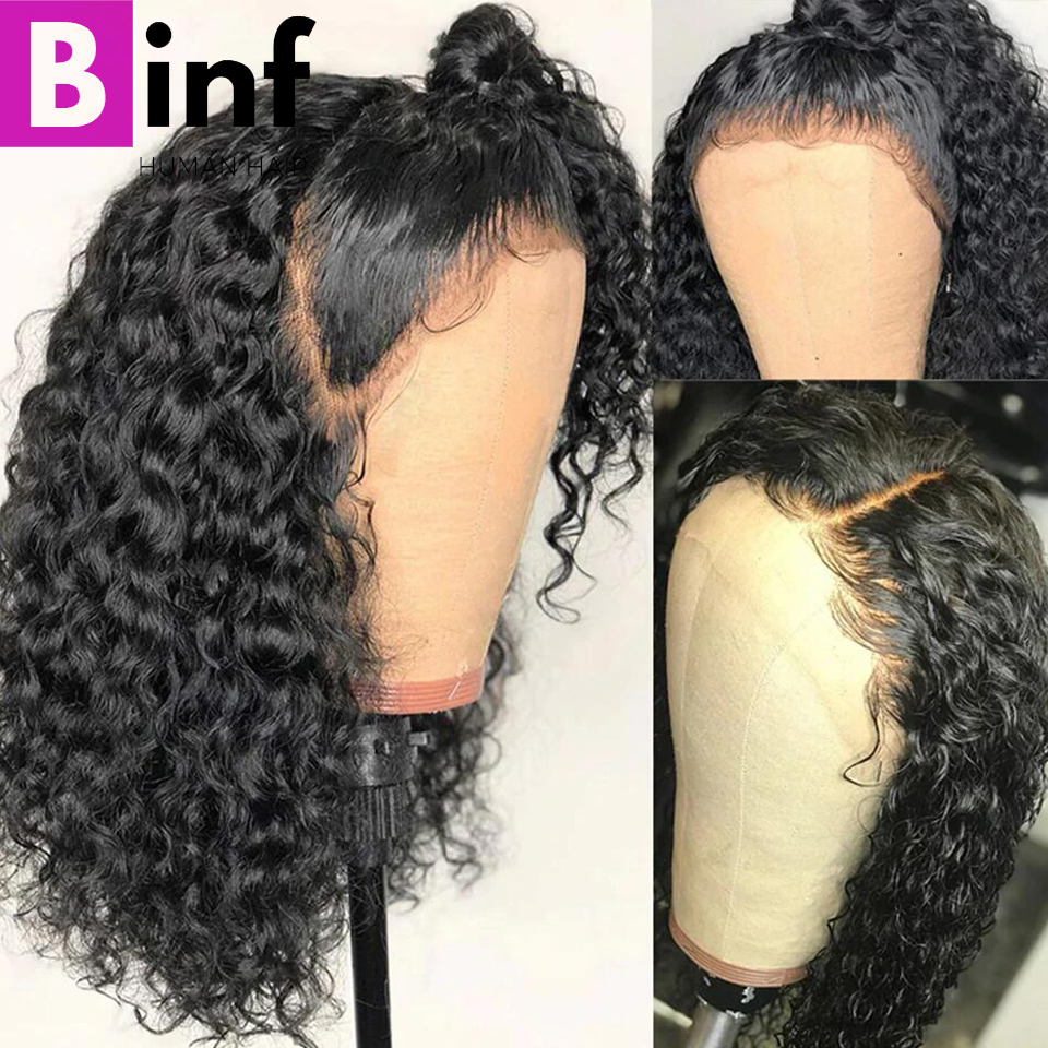 Curly Human Hair Wig Brazilian Short Bob Lace Front Wigs For Black Women Healthy Non Remy Hair Natural Color