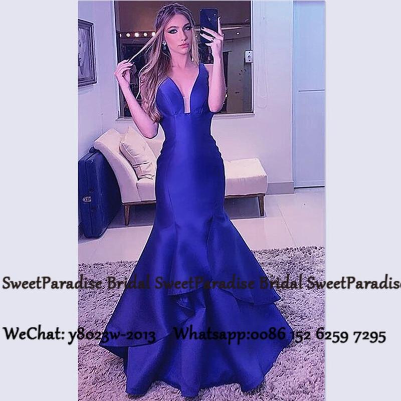 Royal Blue Long Bridesmaid Dresses 2020 Women Deep V Neck Tiered Mermaid Wedding Guest Dress Robe Demoiselle D'honneur