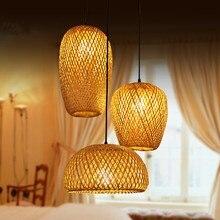 Sudeste da ásia de bambu estilo chinês pendurado lâmpada pingente qualidade mão fazer luzes pingente sala estar jantar hanglamp