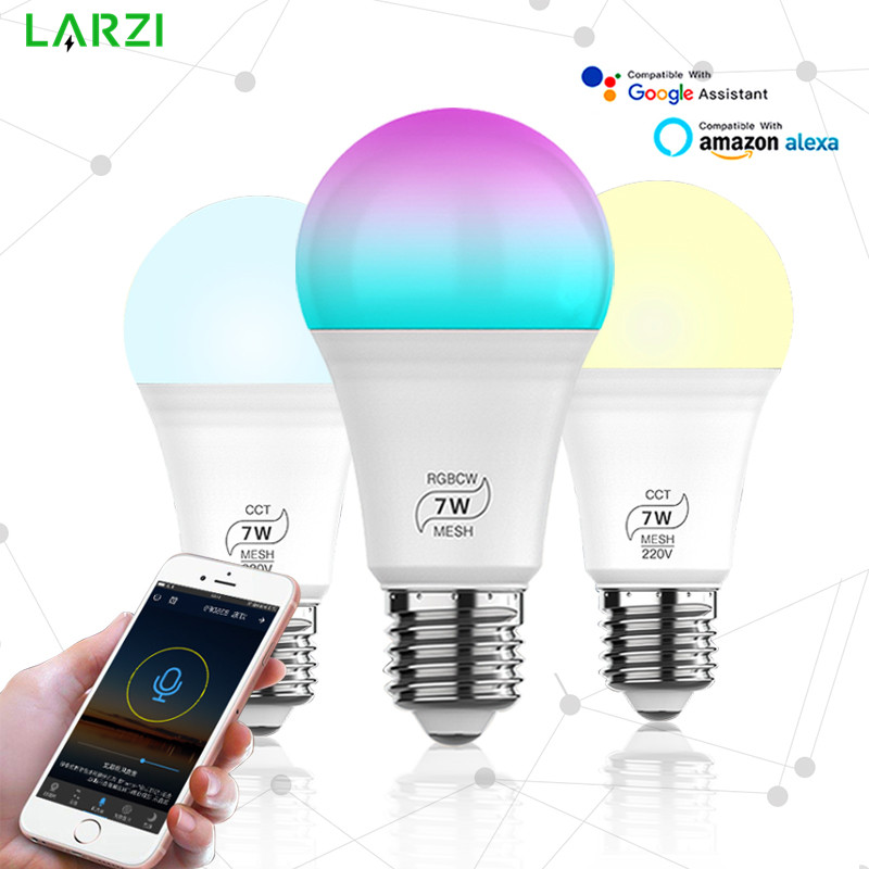 7W Bluetooth Smart Light Bulb E27 LED RGB Lamp Work with Alexa/Google Home 85-265V CCT/RGBCW Dimmable Timer Function Magic Bulb