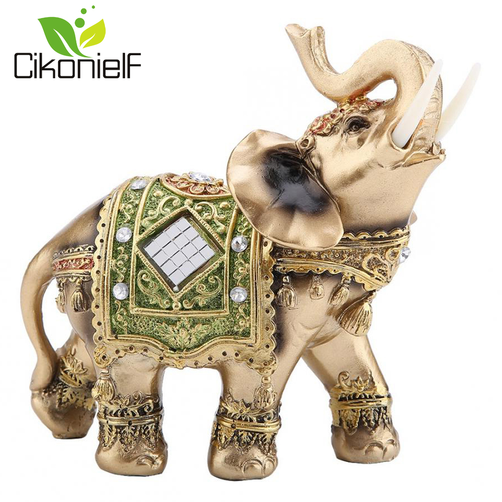 """H Elephant Trunk Statue Lucky Wealth Figurine Gift /& Home Decor Feng Shui 4.5/"""""""