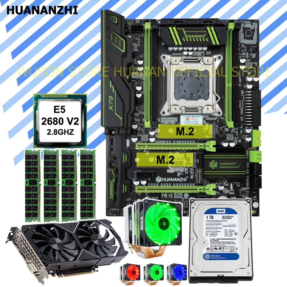 HUANANZHI X79 Pro motherboard with DUAL M.2 slot CPU Xeon E5 <font><b>2680</b></font> V2 with cooler RAM 32G video card GTX1050Ti 4G 1TB SATA HDD image