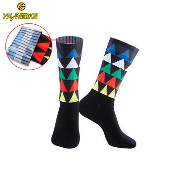 YKYWBIKE Custom Design skarpety rowerowe szosowe skarpety rowerowe wyścigi na świeżym powietrzu rower kompresja oddychające skarpety sportowe dla mężczyzn kobiety tanie i dobre opinie Podkolanówki Jazda na rowerze Breathable Comfortable Individuality Anti-Sweater gym socks anti slip football socks
