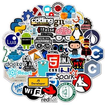 50 Pcs Internet Java Sticker Geek programmer Php Docker Html Bitcoin Cloud C++ Programming Language For Laptop Car DIY Stickers java programming for beginner s
