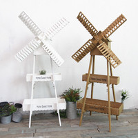 Vintage Plants Stand Outdoor Nordic Plant Pot 2 layer Windmill Flower Pot Shelf Plant Stand Wood Cafe Decor Garden Indoor Stand