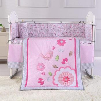 7PCS embroidery baby bed baby bedding sets good quality Infant Crib Fence tour de lit bébé (4bumper+duvet+bed cover+bed skirt)