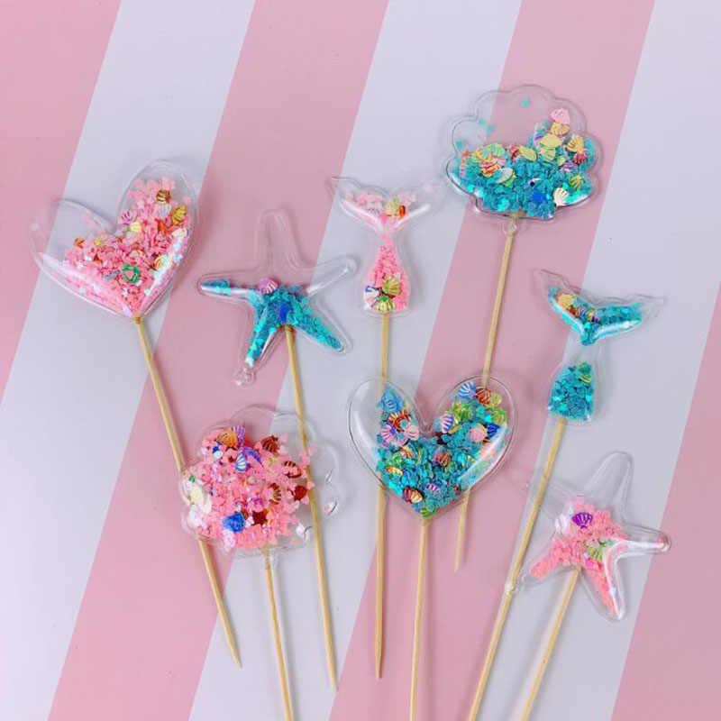 ブリンブリン妖精 PVC ケーキトッパーユニコーン愛クラウンクラウド光沢のあるフラミンゴカップケーキトッパー結婚式誕生日パーティーのケーキの装飾