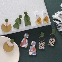 AOMU-pendientes redondos de lunares estampados para mujer, 1 par de moda de Corea geométricos, Semicírculo colorido, regalos de joyería