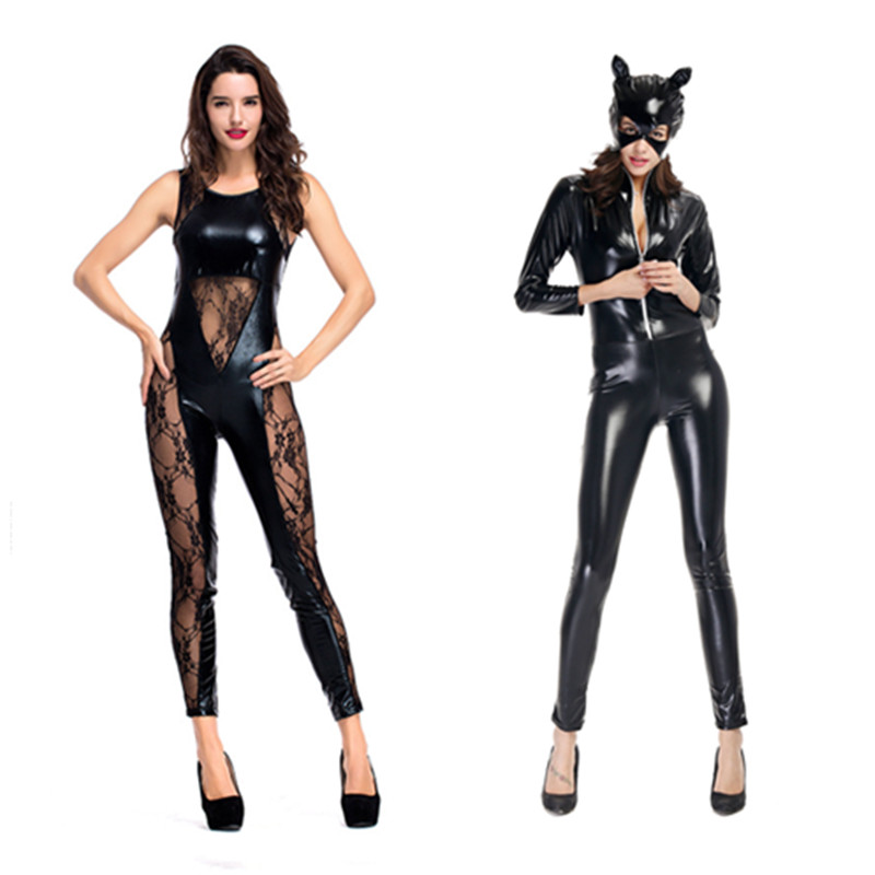 <font><b>Sexy</b></font> <font><b>Disfraces</b></font> Mujer Black Animal Cat Catsuit Shiny Super Hero Catwoman PU Leather Jumpsuit Suit <font><b>Halloween</b></font> Costumes For Women image