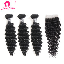 Ali Sugar Hair Brazilian Deep Wave 3 Bundles With Closure 100% Unprocessed Raw Virgin Hair Natural Color Free Shipping(China)