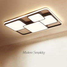Rectangle modern led ceiling lights for living room bedroom study room white or black 95 265V square ceiling lamp with RC