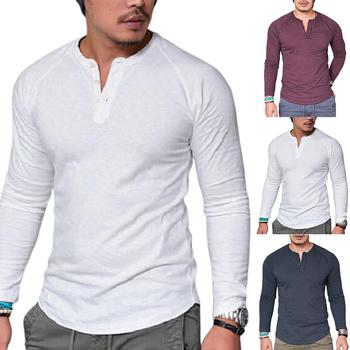 Men Casual Solid Color O Neck Long Sleeve Buttons Plus Size Slim Blouse T-shirt solid color cold shoulder all match casual women solid color o neck long sleeve cold shoulder holes plus size blouse hot sales