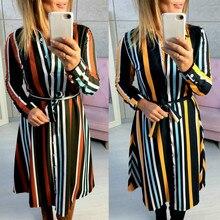 2019 New Chiffon Slim Stitching Mixed Color Fashion Stripe Dress For Women