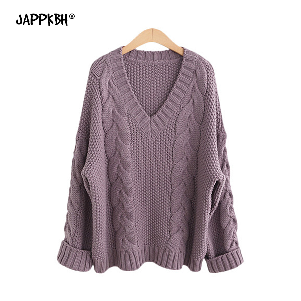 Autumn Winter Sweater Women 2019 Solid Warm Oversized Long Sleeve Sweater Casual V Neck Pullover Loose Knitted Sweaters Black