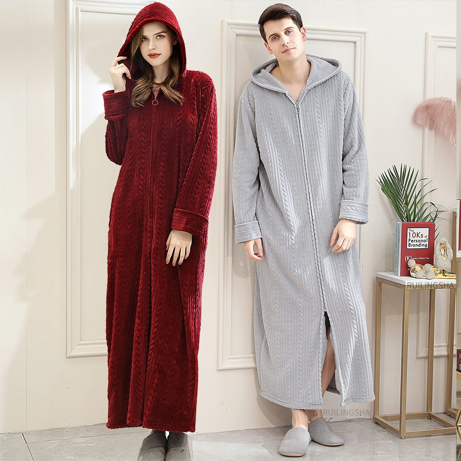 40-110KG Plus Size Men Winter Long Warm Coral Fleece Bathrobe Cozy Flannel Hooded Bath Robe Night Dressing Gown Women Sleepwear