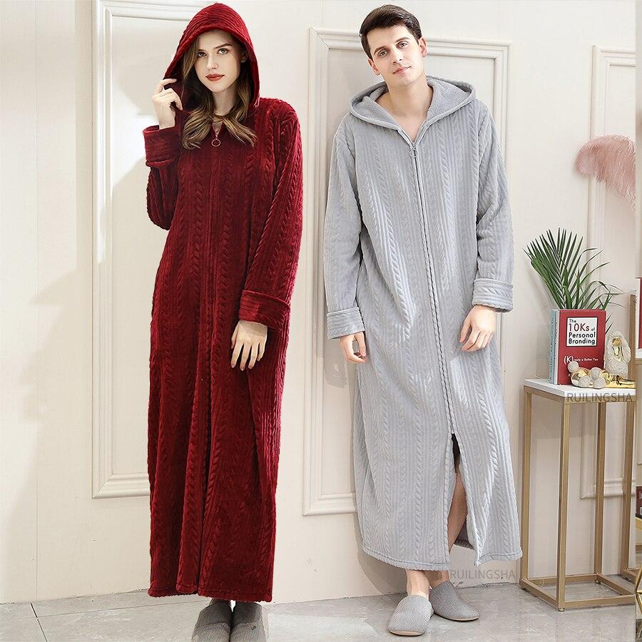 40-110KG Plus Size Men Winter Long Warm Coral Fleece Bathrobe Cozy Flannel Hooded Bath Robe Night Dressing Gown Women Sleepwear
