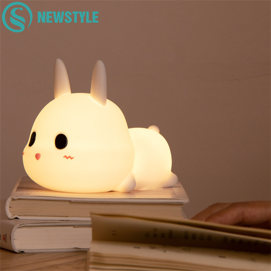 Rabbit LED Night Light Silicone Animal Cartoon Dimmable Lamp USB Rechargeable For Children Kids Baby Gift Bedside Bedroom