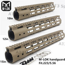 Tan 10/12/15''inch Mlok Slim Free Float Handguard Rifle Scope Mount with Aluminum or Steel Nut For AR15 M4