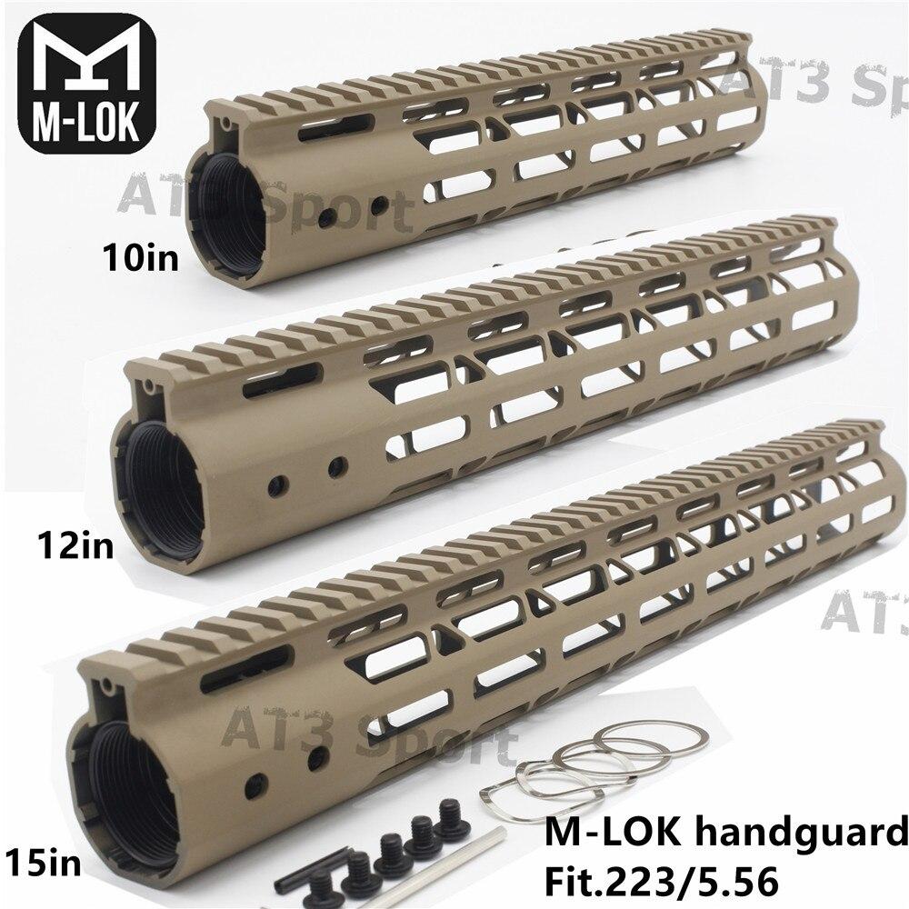Tan AR-15 M4 M-LOK MLOK 10/12/15''inch Slim Free Float Handguard M-LOK Rifle Scope Mount with Aluminum or Steel Nut(China)