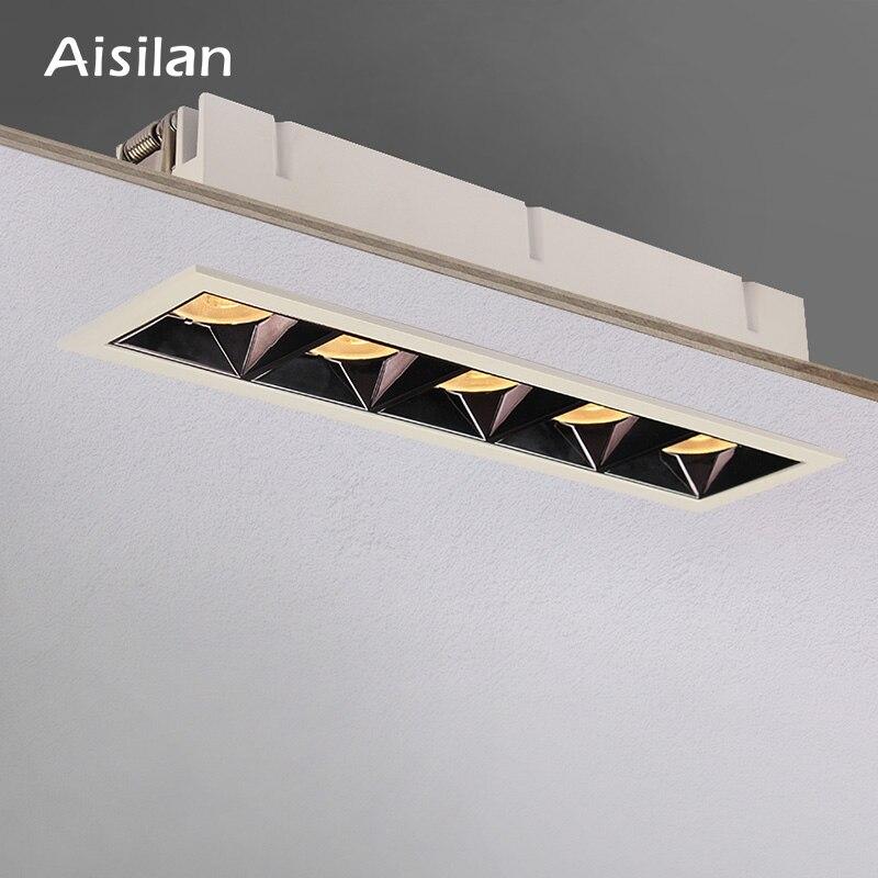 Aisilan светодиодный сетчатый потолочный Точечный светильник, встроенный светильник, линейный светильник s COB, прямоугольный потолочный свети...