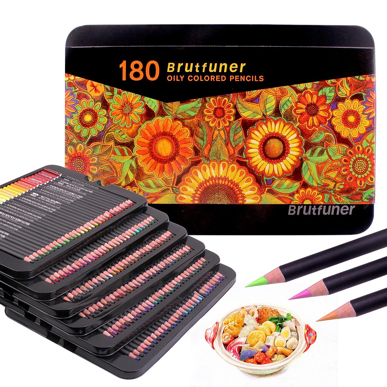 Lápis coloridos conjunto profissional de 180 cores, núcleos macios à base de cera, ideal para desenhar arte esboçando sombreamento e caixa de estanho para colorir