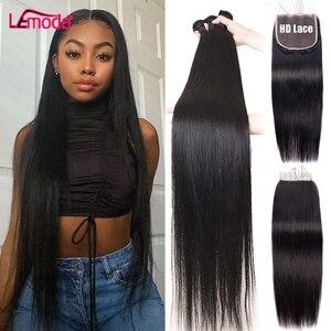 Пряпряди с застежкой 5x5 HD, Прозрачная Кружевная Фронтальная застежка с пряди, перуанские волосы Lemoda Remy, наращивание волос